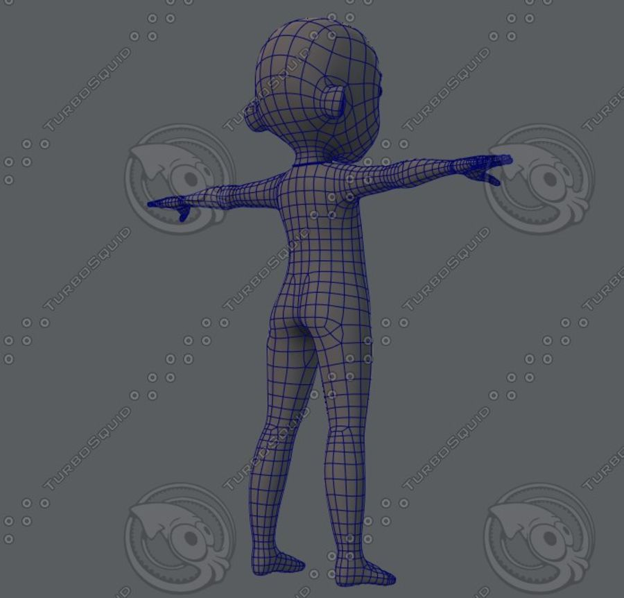 Base mesh boy character royalty-free 3d model - Preview no. 20