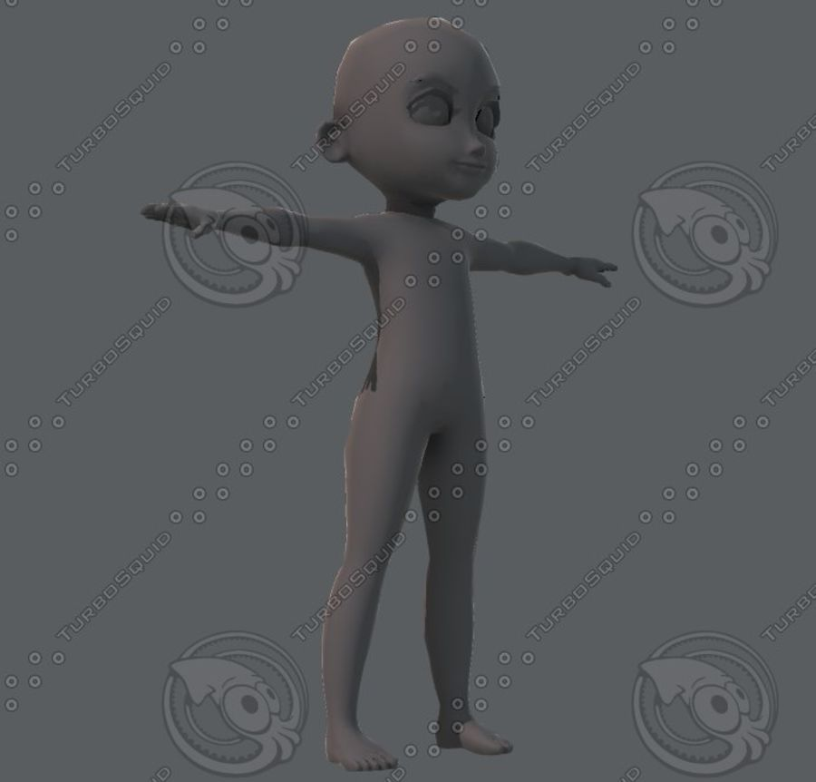 Base mesh boy character royalty-free 3d model - Preview no. 26