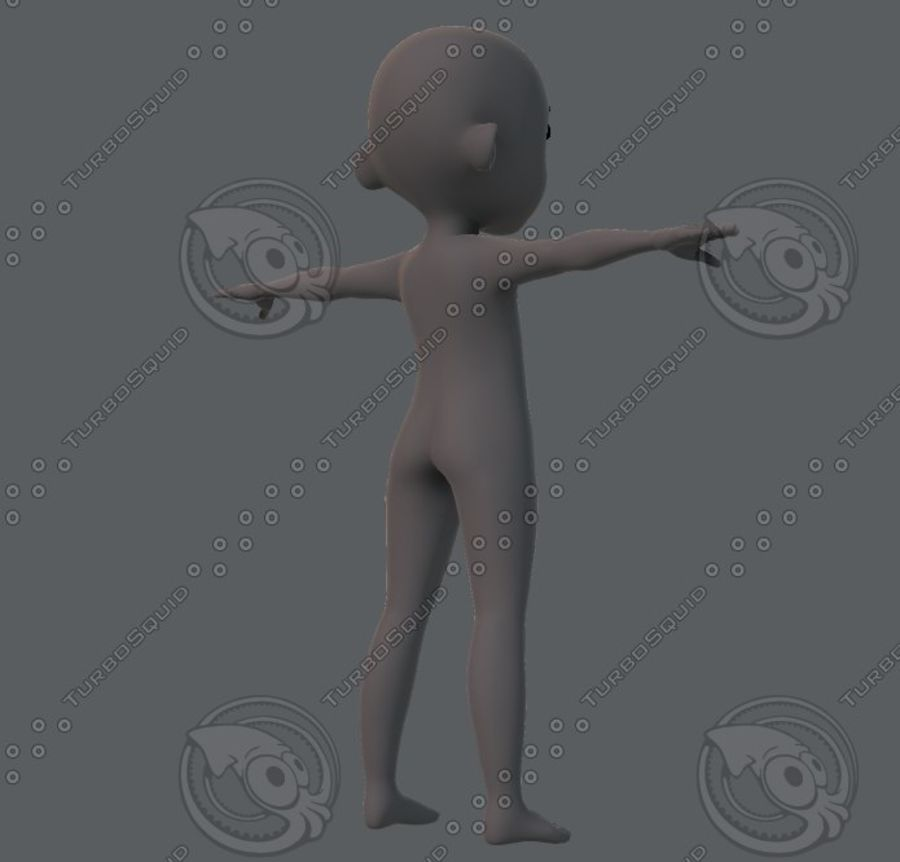 Base mesh boy character royalty-free 3d model - Preview no. 12