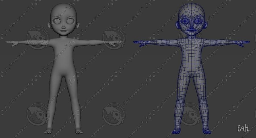 Base mesh boy character royalty-free 3d model - Preview no. 5