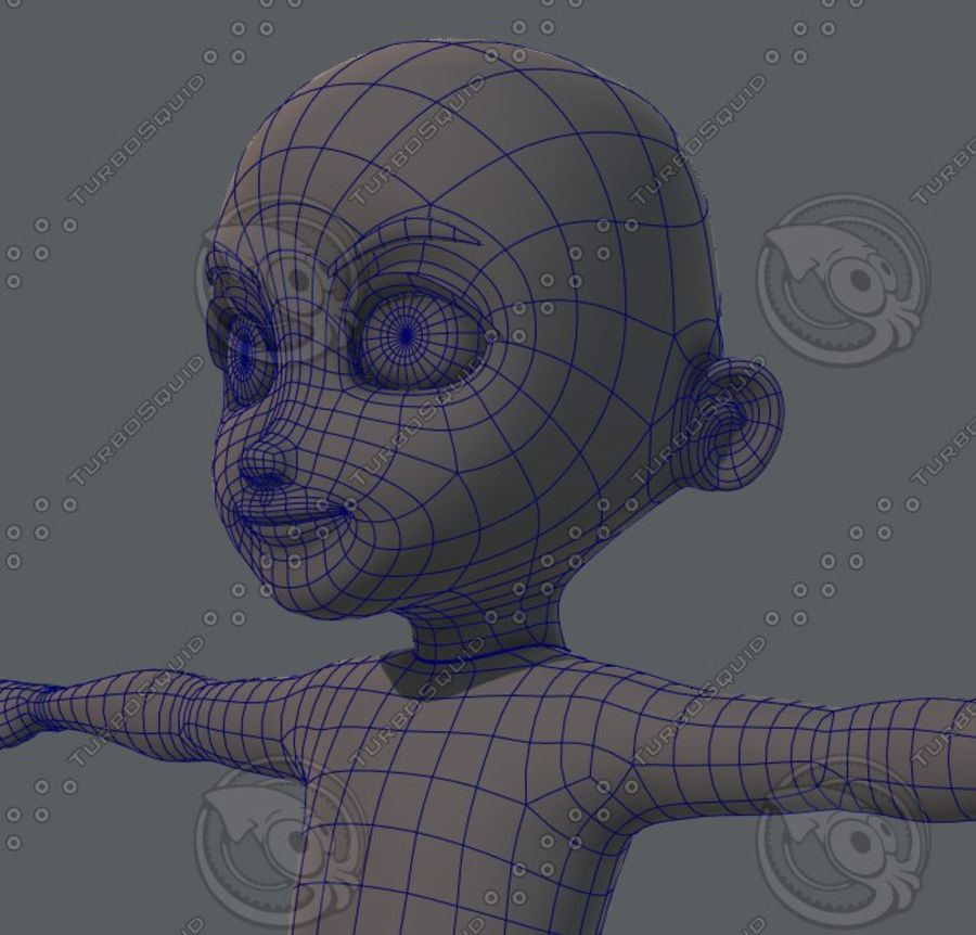 Base mesh boy character royalty-free 3d model - Preview no. 56