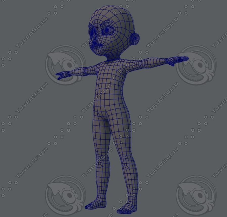 Base mesh boy character royalty-free 3d model - Preview no. 24