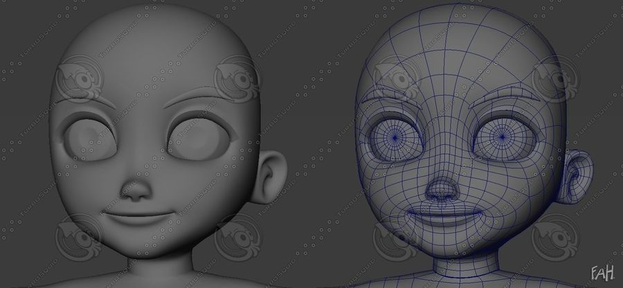 Base mesh boy character royalty-free 3d model - Preview no. 3