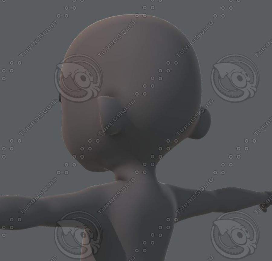 Base mesh boy character royalty-free 3d model - Preview no. 46