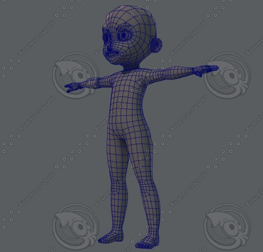 Base mesh boy character royalty-free 3d model - Preview no. 40