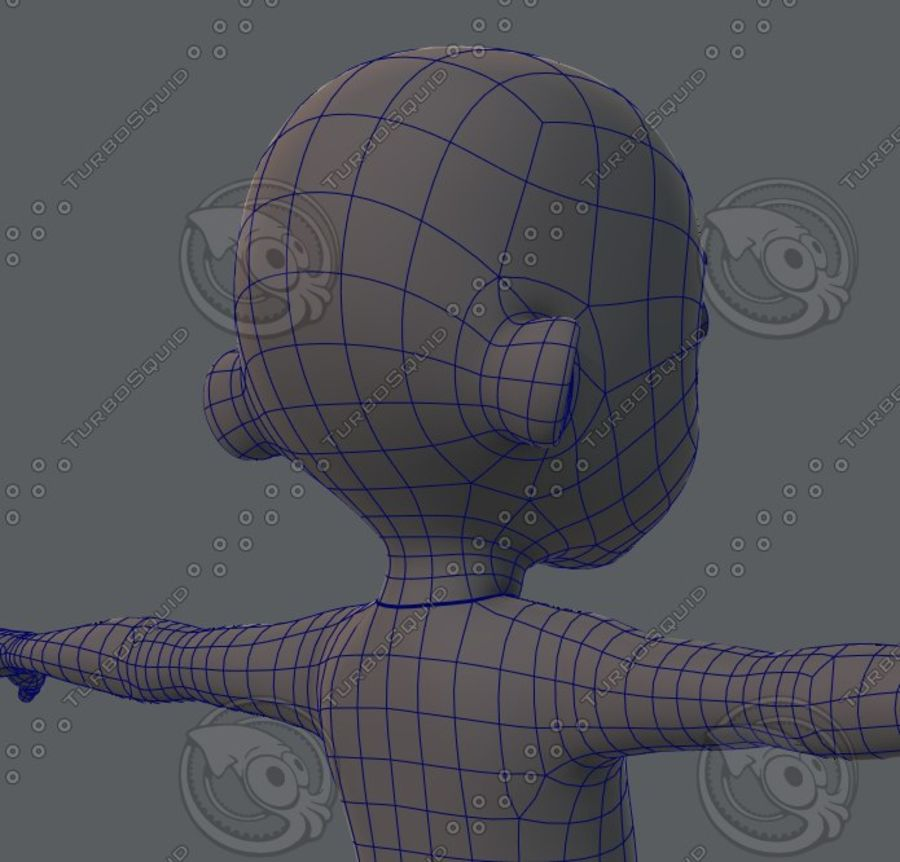 Base mesh boy character royalty-free 3d model - Preview no. 52