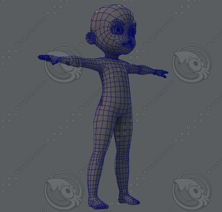 Base mesh boy character royalty-free 3d model - Preview no. 34