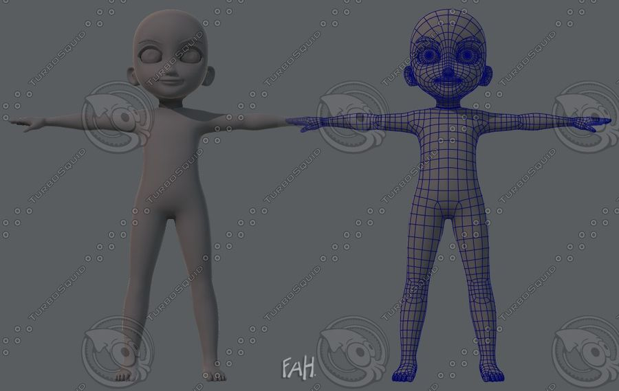 Base mesh boy character royalty-free 3d model - Preview no. 2
