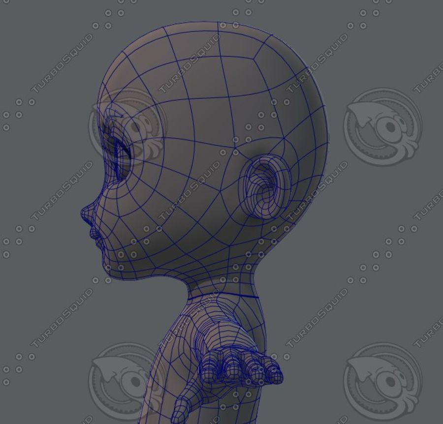 Base mesh boy character royalty-free 3d model - Preview no. 55