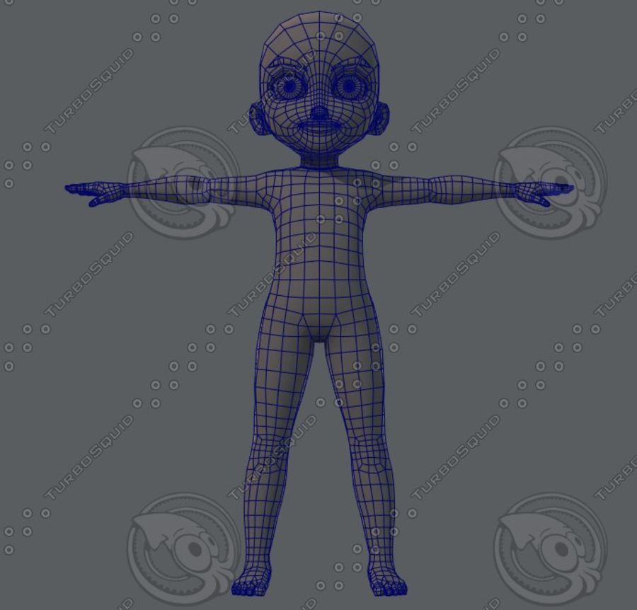 Base mesh boy character royalty-free 3d model - Preview no. 33