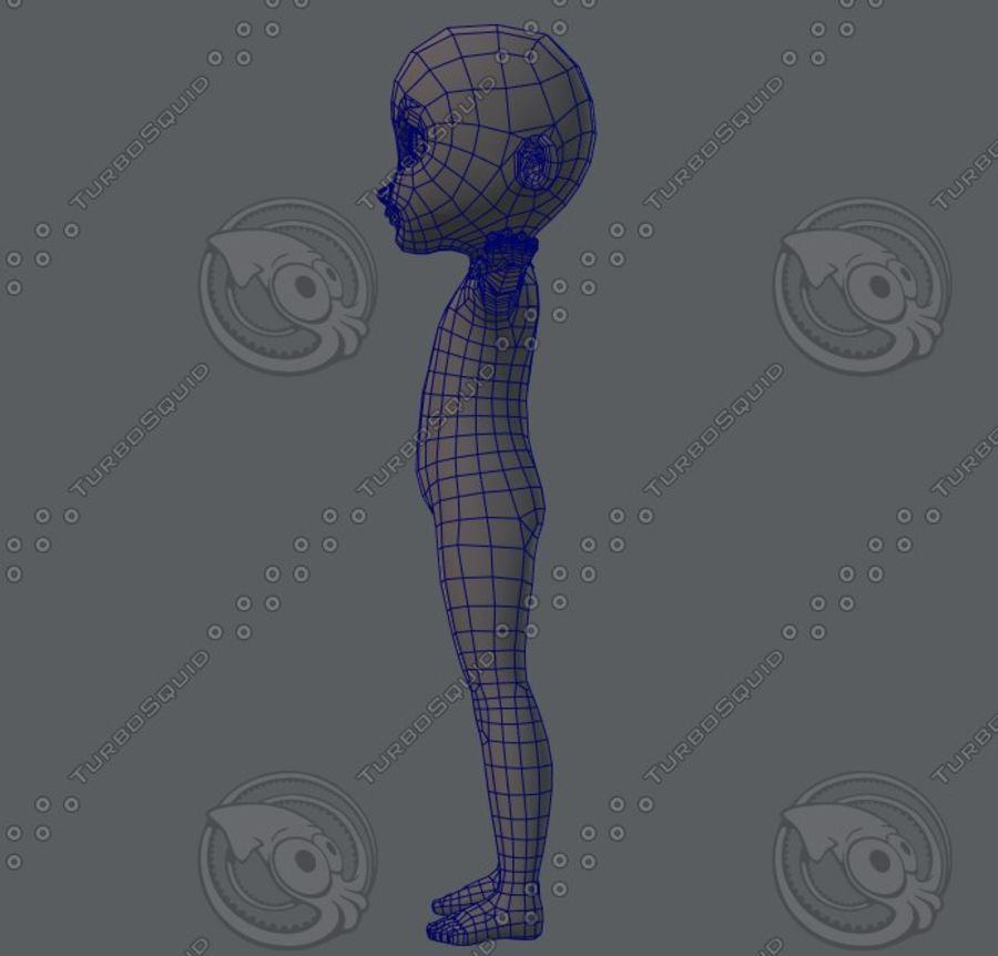 Base mesh boy character royalty-free 3d model - Preview no. 39