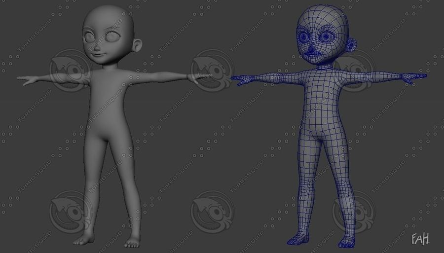 Base mesh boy character royalty-free 3d model - Preview no. 7