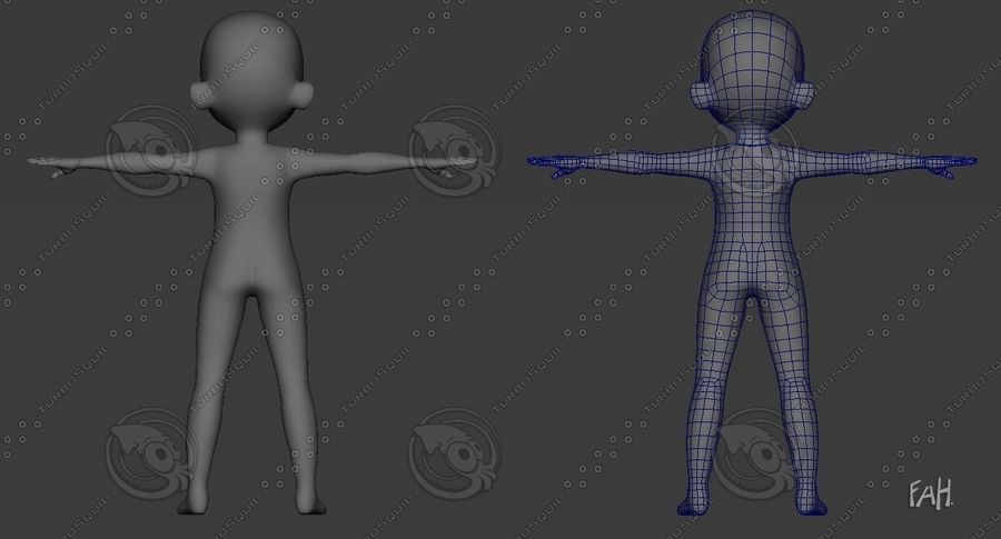 Base mesh boy character royalty-free 3d model - Preview no. 6