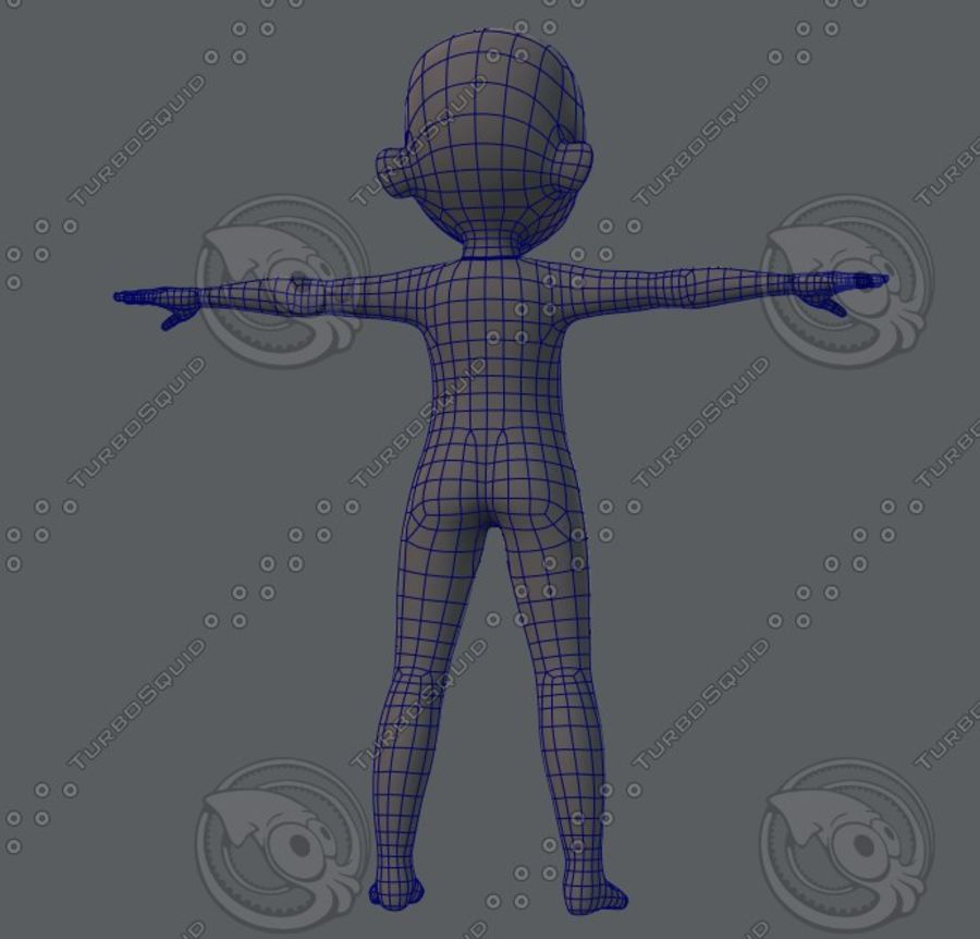 Base mesh boy character royalty-free 3d model - Preview no. 21