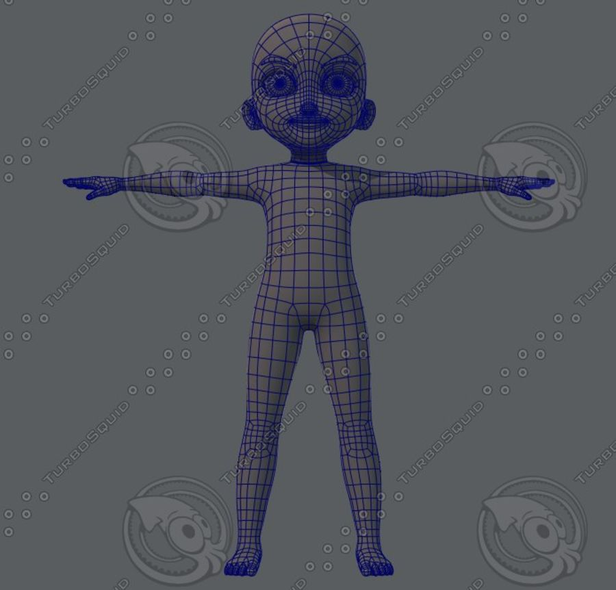 Base mesh boy character royalty-free 3d model - Preview no. 17
