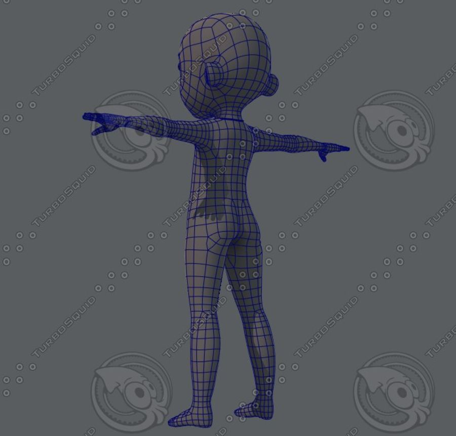 Base mesh boy character royalty-free 3d model - Preview no. 22