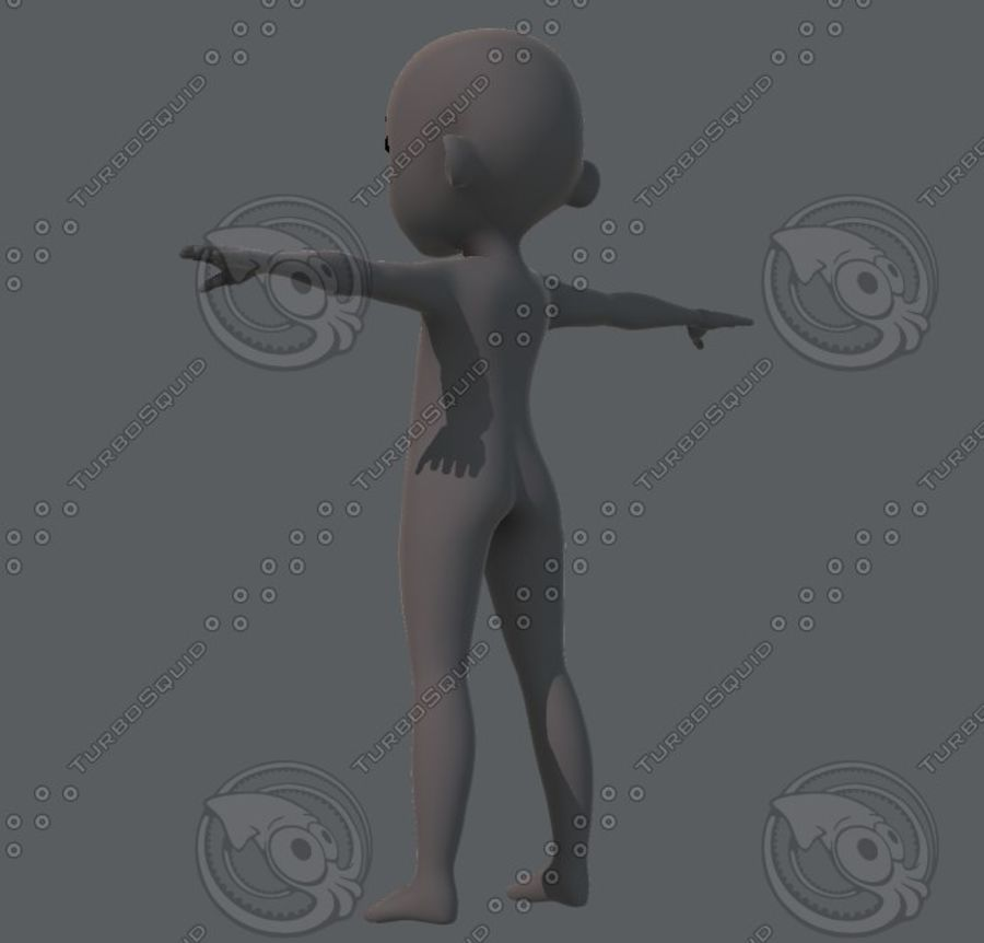 Base mesh boy character royalty-free 3d model - Preview no. 14