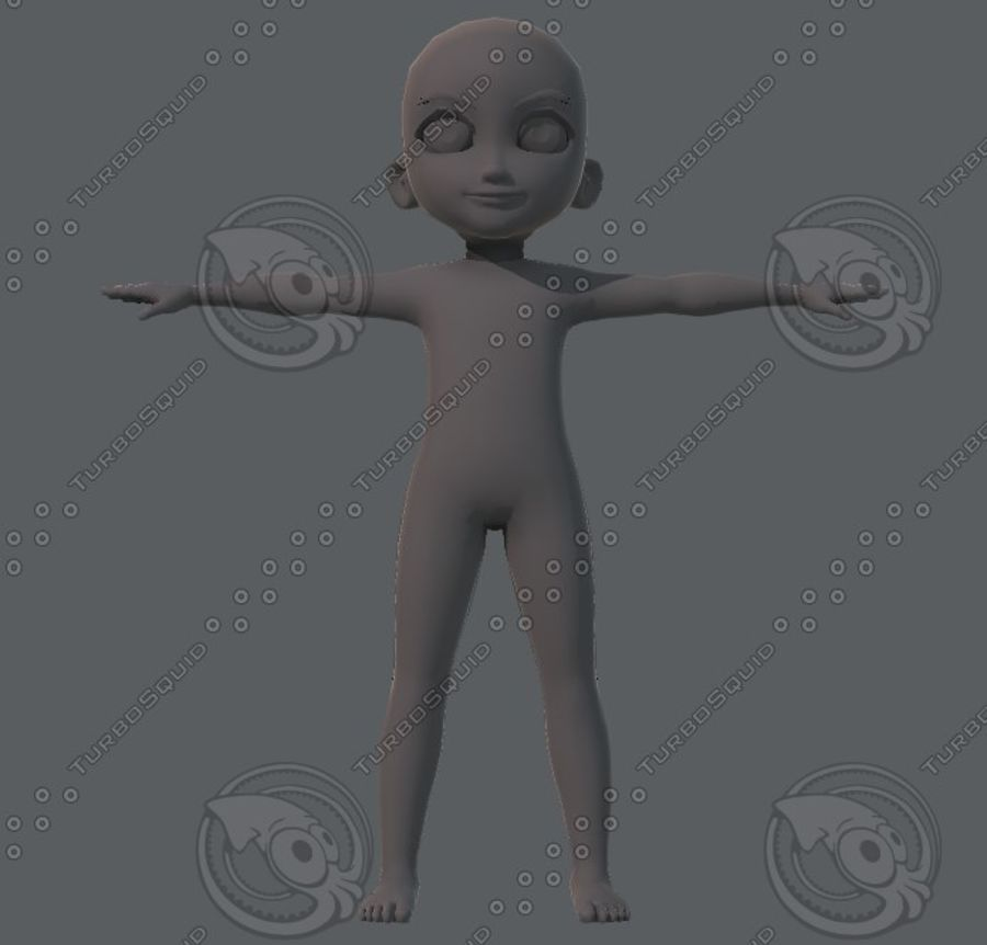 Base mesh boy character royalty-free 3d model - Preview no. 25