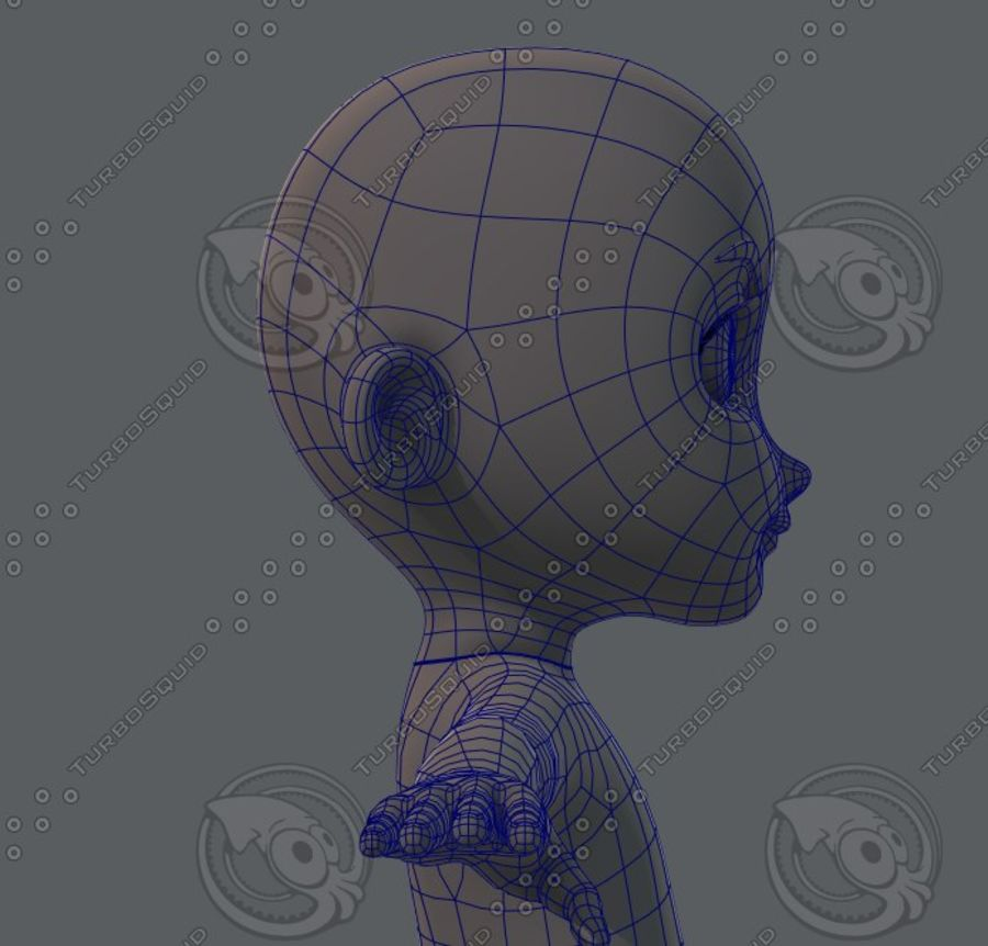 Base mesh boy character royalty-free 3d model - Preview no. 51