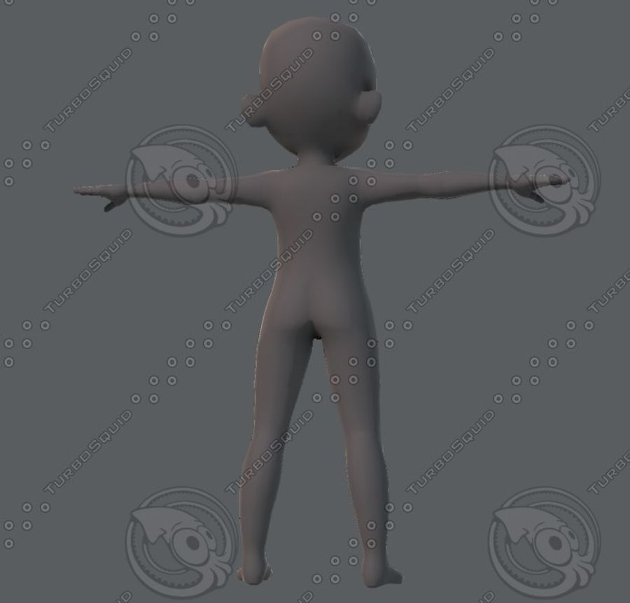 Base mesh boy character royalty-free 3d model - Preview no. 29