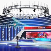 带有摄像头和演示者的TV News Studio装配了3D模型 3d model
