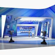 TV-studio med kameror och väderpresentant riggat 3d model