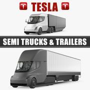 Coleção de modelos 3D Tesla Semi Trucks and Trailers 3d model