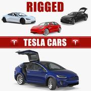 Kolekcja modeli 3D samochodów z osprzętem Tesla 3 3d model