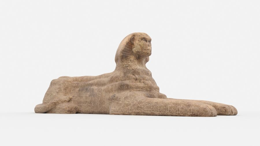 great sphinx of Giza+pyramid royalty-free 3d model - Preview no. 14