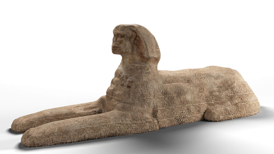 great sphinx of Giza+pyramid royalty-free 3d model - Preview no. 15