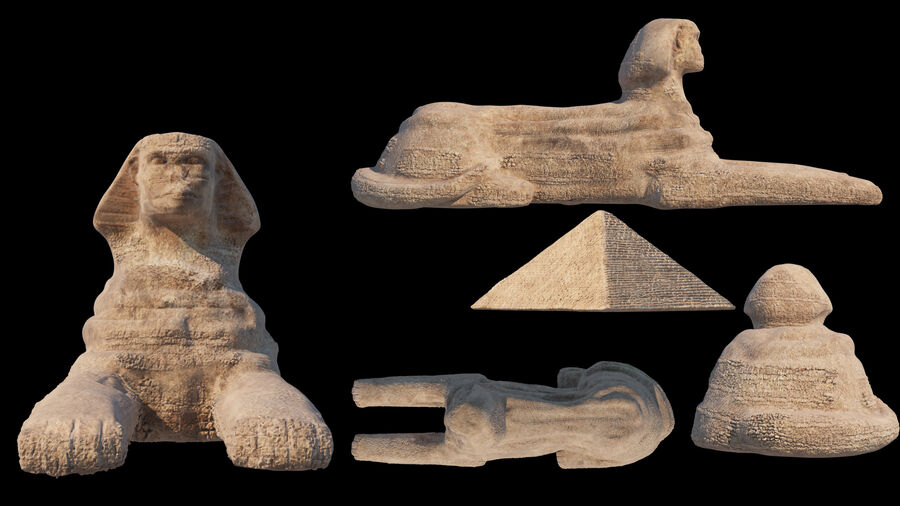 great sphinx of Giza+pyramid royalty-free 3d model - Preview no. 13