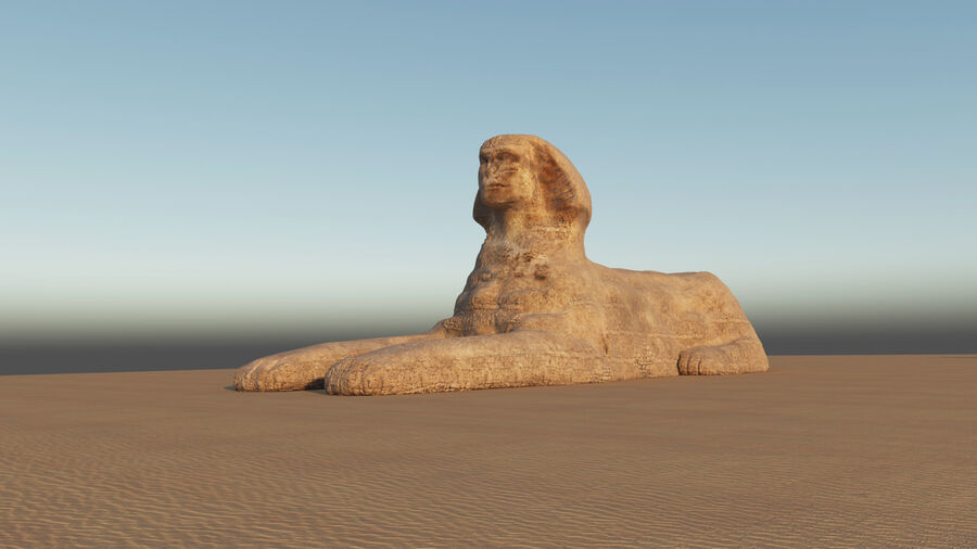 great sphinx of Giza+pyramid royalty-free 3d model - Preview no. 7