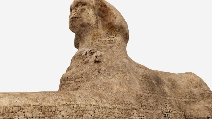 great sphinx of Giza+pyramid royalty-free 3d model - Preview no. 1