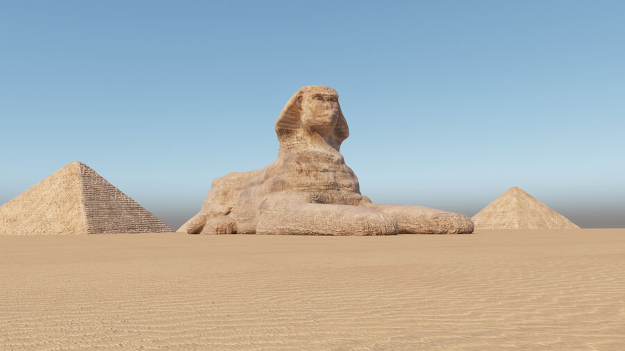 great sphinx of Giza+pyramid royalty-free 3d model - Preview no. 8