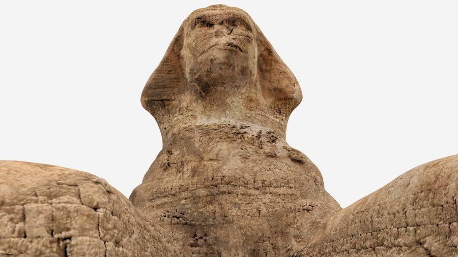 great sphinx of Giza+pyramid royalty-free 3d model - Preview no. 3