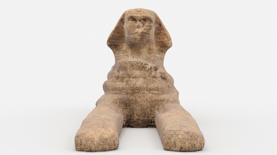 great sphinx of Giza+pyramid royalty-free 3d model - Preview no. 2