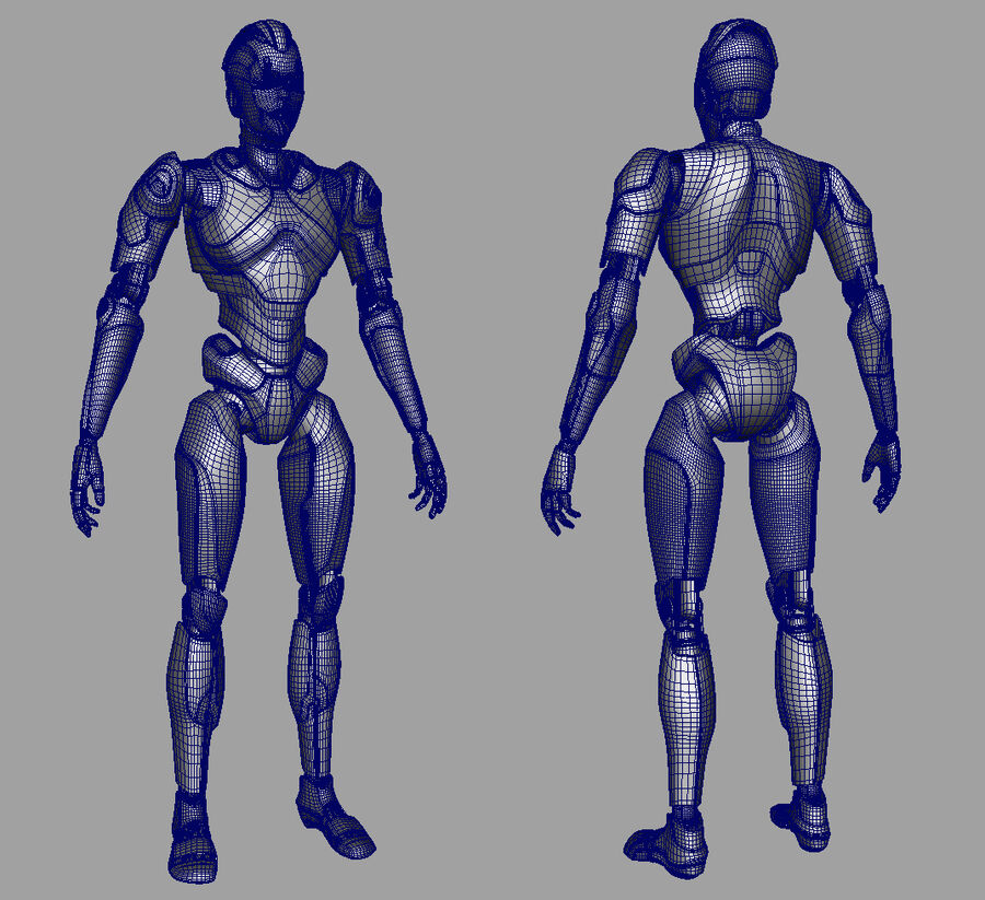 Robot Cyborg royalty-free 3d model - Preview no. 17