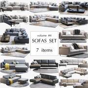 Conjunto de 7 sofás Boconcept modelo 3d