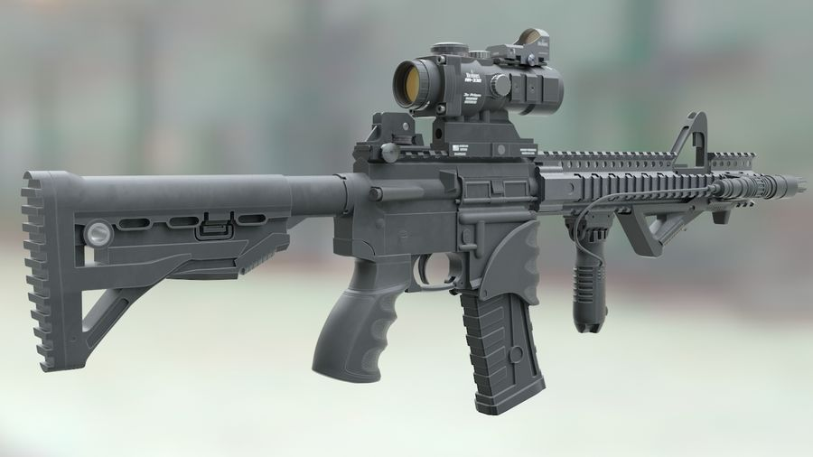 ar-15 3D model royalty-free 3d model - Preview no. 1