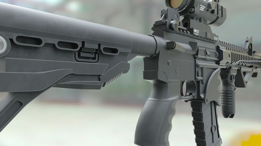 ar-15 3D model royalty-free 3d model - Preview no. 4