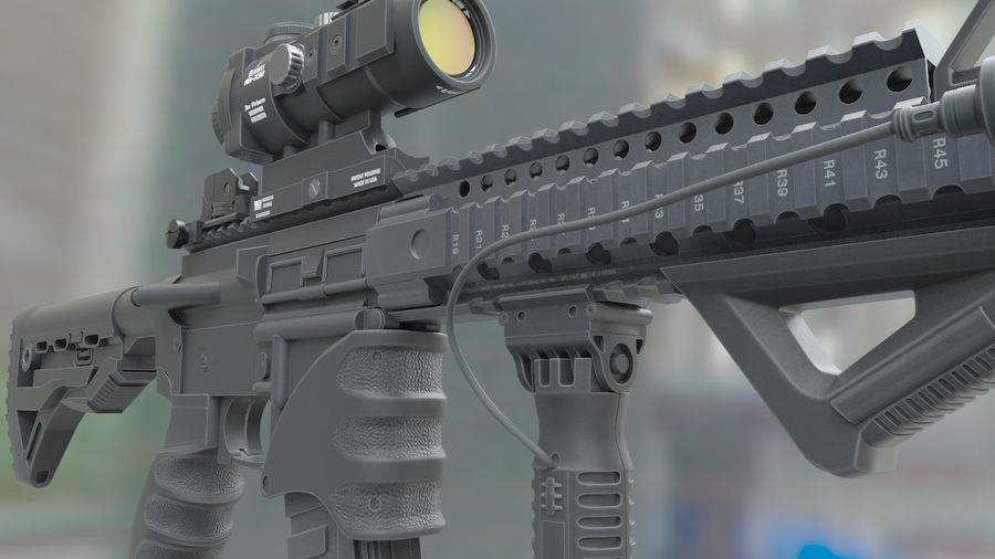 ar-15 3D model royalty-free 3d model - Preview no. 2