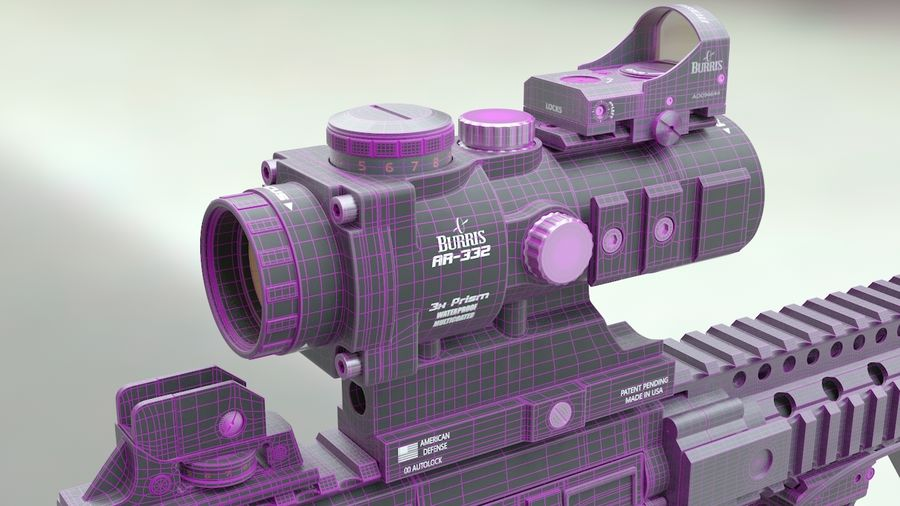 ar-15 3D model royalty-free 3d model - Preview no. 8