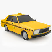低ポリ漫画タクシータクシー3Dモデル 3d model