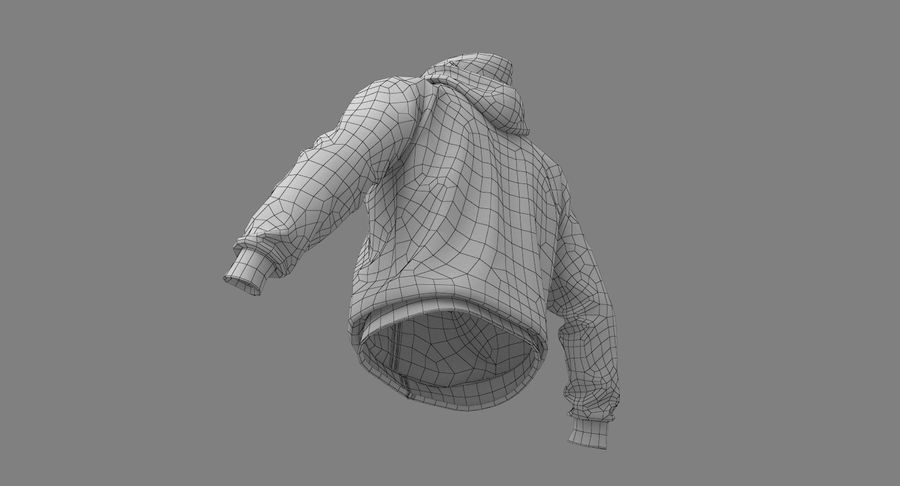Hoodie 02 (White) +PBR royalty-free 3d model - Preview no. 31