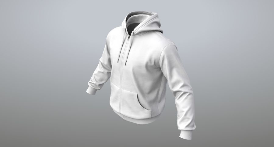 Hoodie 02 (White) +PBR royalty-free 3d model - Preview no. 11