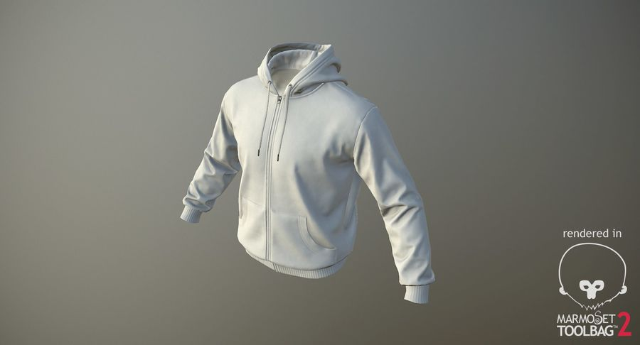 Hoodie 02 (White) +PBR royalty-free 3d model - Preview no. 16