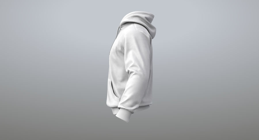 Hoodie 02 (White) +PBR royalty-free 3d model - Preview no. 8