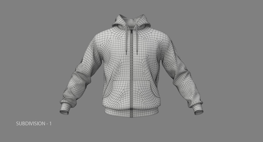 Hoodie 02 (White) +PBR royalty-free 3d model - Preview no. 21