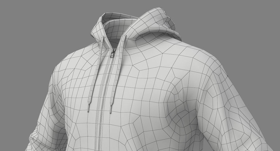 Hoodie 02 (White) +PBR royalty-free 3d model - Preview no. 22