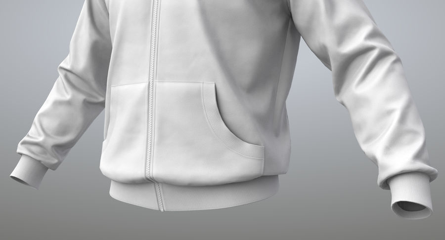 Hoodie 02 (White) +PBR royalty-free 3d model - Preview no. 4